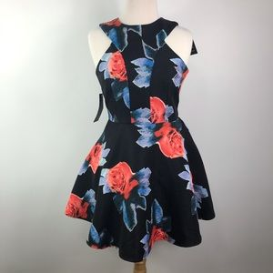 AX Paris floral black flare sleeveless zip dress